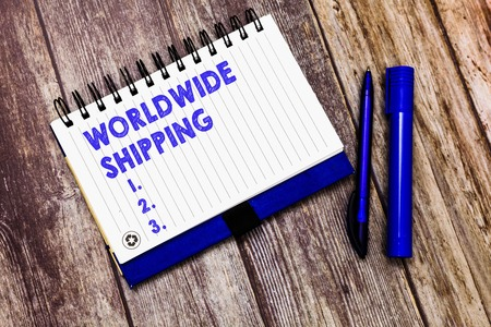 Conceptual hand writing showing Worldwide Shipping. Business photo text Sea Freight Delivery of Goods International Shipment.