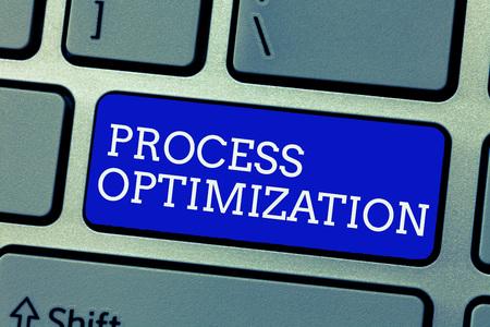 Conceptual hand writing showing Process Optimization. Business photo showcasing Improve Organizations Efficiency Maximize Throughput.