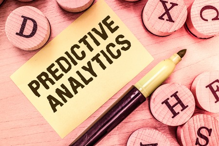 Handwriting text writing Predictive Analytics. Concept meaning Optimize Collection Achieve CRMIdentify Customer.