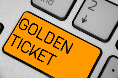Handwriting text Golden Ticket. Concept meaning Rain Check Access VIP Passport Box Office Seat Event Keyboard orange key Intention create computer computing reflection document Standard-Bild