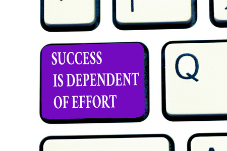 Word writing text Success Is Dependent Of Effort. Business concept for Make effort to Succeed Stay Persistent. Banco de Imagens