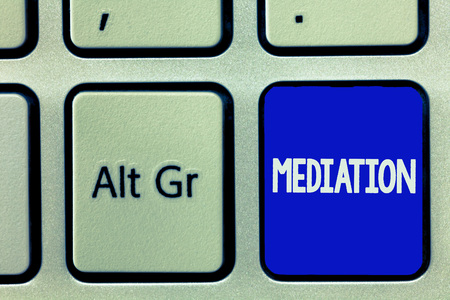 Writing note showing Mediation. Business photo showcasing intervention dispute in order to resolve it Arbitration Relaxation.