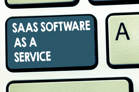Conceptual hand writing showing Saas Software As A Service. Business photo showcasing the use of cloud based App over the Internet.