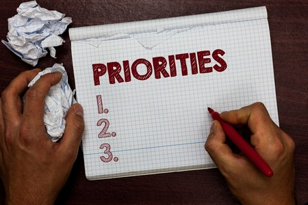 Word writing text Priorities. Business concept for Things that are regarded as more important urgent than others Man holding marker notebook page crumpled papers several tries mistakes