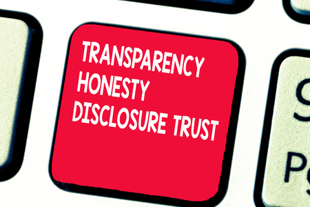 Conceptual hand writing showing Transparency Honesty Disclosure Trust. Business photo text Political Agenda Corporate Will.