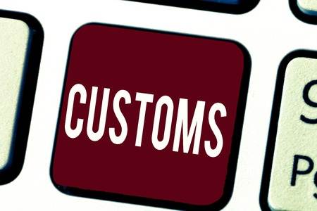 Text sign showing Customs. Conceptual photo Official department administers collects duties on imported goods. Stock fotó