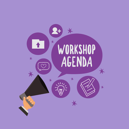 Handwriting text Workshop Agenda. Concept meaning helps you to ensure that your place stays on schedule.