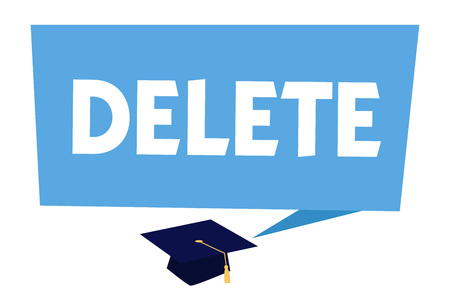 Text sign showing Delete. Conceptual photo remove or obliterate written or printed matter by drawing line onit. Stockfoto