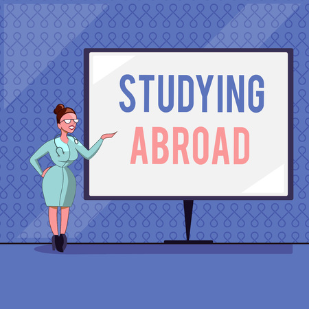 Handwriting text writing Studying Abroad. Concept meaning learn outside of home in foreign country Travelling.