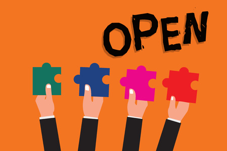 Text sign showing Open. Conceptual photo New Beginning Business venture Passage Allowing Access Available.
