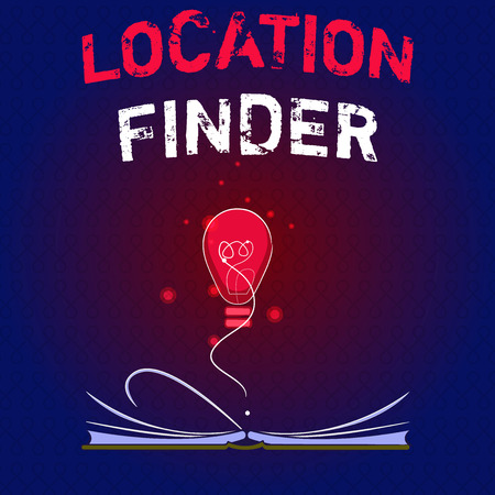Writing note showing Location Finder. Business photo showcasing A service featured to find the address of a selected place.