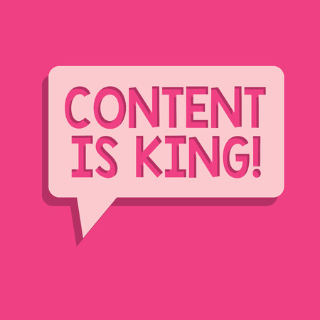 Word writing text Content Is King. Business concept for words what sells products and provide good marketing. Stok Fotoğraf