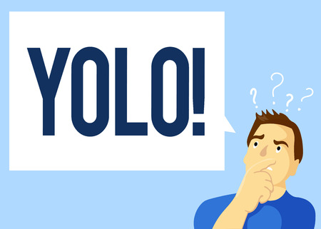 Conceptual hand writing showing Yolo. Business photo text stand for You only live once popular phase among students and teens. Stock Photo