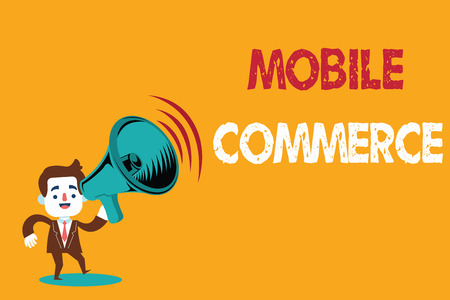 Text sign showing Mobile Commerce. Conceptual photo Using mobile phone to conduct commercial transactions online.