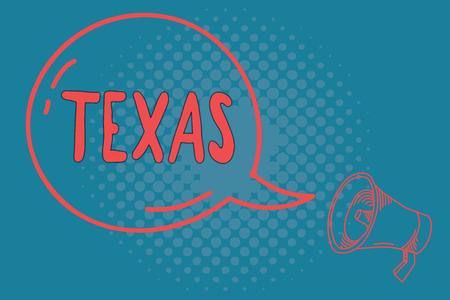 Word writing text Texas. Business concept for based on Caddo word taysha meaning friends and its located in us.