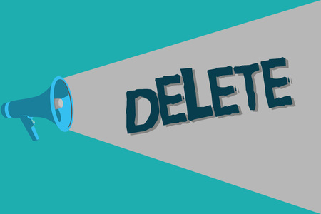 Conceptual hand writing showing Delete. Business photo text remove or obliterate written or printed matter by drawing line onit.