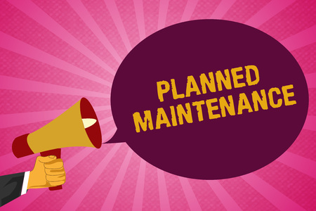 Writing note showing Planned Maintenance. Business photo showcasing Check ups to be done Scheduled on a Regular Basis.