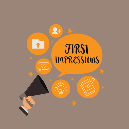 Writing note showing First Impressions. Business photo showcasing What a person thinks of you when they first meet you. Banque d'images