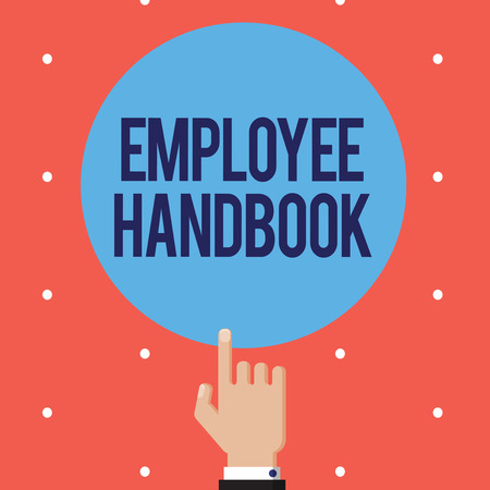 Text sign showing Employee Handbook. Conceptual photo Document that contains an operating procedures of company.