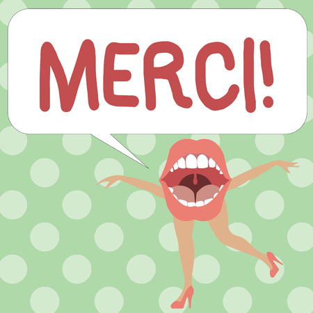 Handwriting text writing Merci. Concept meaning defined as thank you in French language Being grateful to someone.