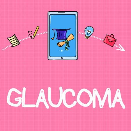 Conceptual hand writing showing Glaucoma. Business photo text Eye diseases which result in damage to the optic nerve Vision loss. 版權商用圖片