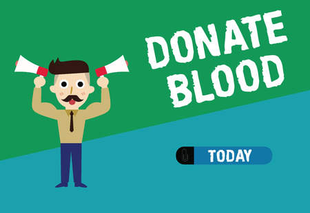 Handwriting text writing Donate Blood. Concept meaning Refers to the collection of blood commonly from donors.