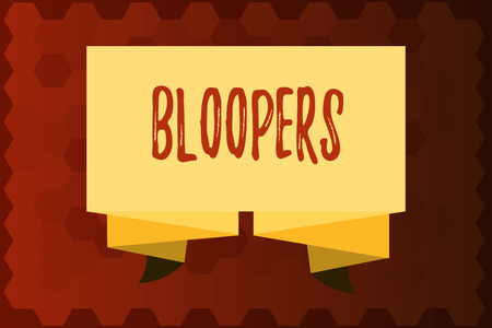 Text sign showing Bloopers. Conceptual photo Embarrassing errors Mistakes Fails Missteps Problems Failures.