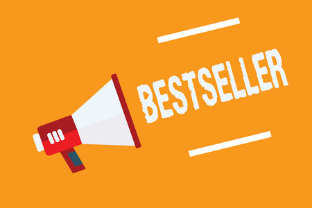 Conceptual hand writing showing Bestseller. Business photo text Book product sold in large numbers Successful literature Megaphone loudspeaker orange background important message speaking