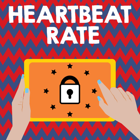 Writing note showing Heartbeat Rate. Business photo showcasing measured by number of times the heart contracts per minute. Banque d'images