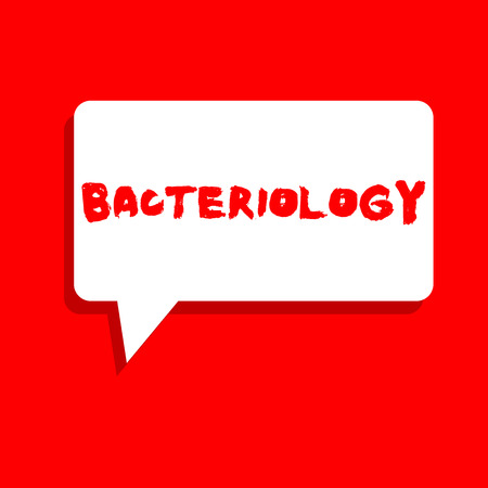 Word writing text Bacteriology. Business concept for Branch of microbiology dealing with bacteria and their uses. Stockfoto