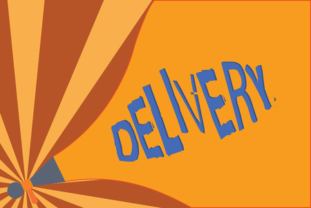 Handwriting text writing Delivery. Concept meaning action of delivering letters parcels or goods Giving birth. Stok Fotoğraf - 111242188