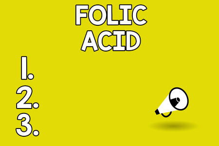 Word writing text Folic Acid. Business concept for Vitamin required for normal production of red blood cells.