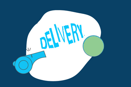 Conceptual hand writing showing Delivery. Business photo text action of delivering letters parcels or goods Giving birth.
