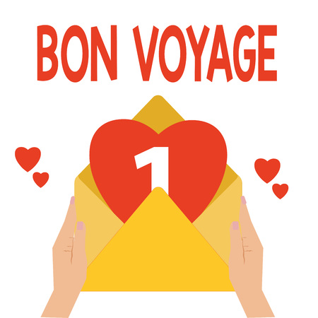 Word writing text Bon Voyage. Business concept for Used express good wishes to someone about set off on journey.
