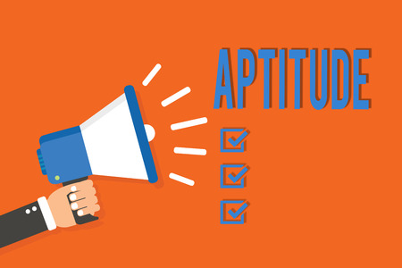 Word writing text Aptitude. Business concept for Natural ability tendency to do something Skill Talent perforanalysisce Man holding megaphone loudspeaker orange background message speaking loud Фото со стока