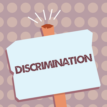 Conceptual hand writing showing Discrimination. Business photo text Prejudicial treatment of different categories of showing. Imagens