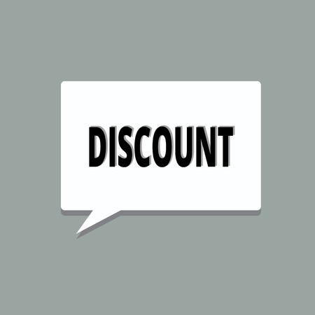 Handwriting text Discount. Concept meaning deduction from usual cost of something Save on product service.