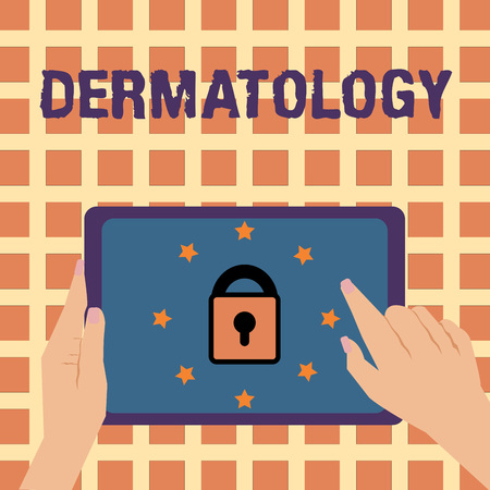 Writing note showing Dermatology. Business photo showcasing Cosmetic care and enhancement branch of medicine Skin treatment. Stock Photo