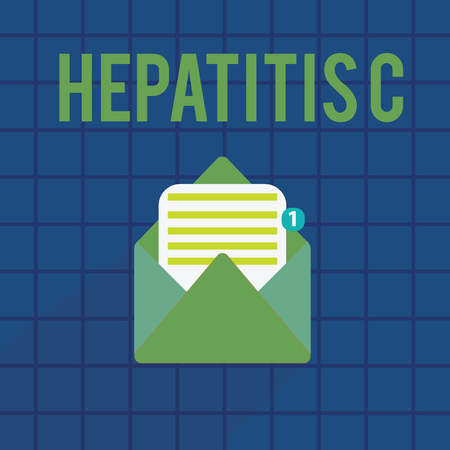 Text sign showing Hepatitis C. Conceptual photo Inflammation of the liver due to a viral infection Liver disease. Stock Photo