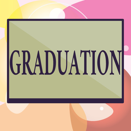 Conceptual hand writing showing Graduation. Business photo text Receiving or conferring of academic degree diploma certification.