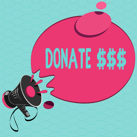 Conceptual hand writing showing Donate . Business photo showcasing Voluntarily give money for a cause Help more needed showing. Stock Photo