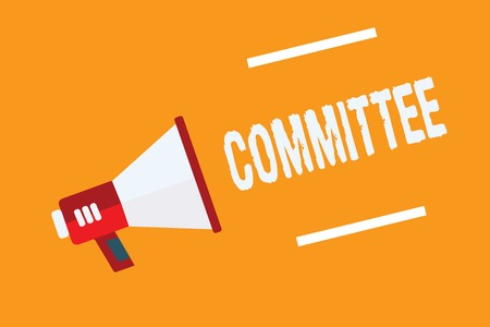 Conceptual hand writing showing Committee. Business photo text Group of showing appointed for a specific function Company teamwork Megaphone loudspeaker orange background important message speaking