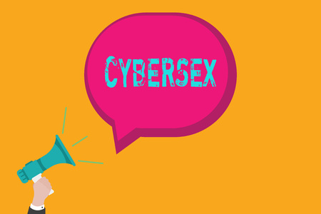 Handwriting text writing Cybersex. Concept meaning sexual arousal using computer technology by wearing vr equipment. Stock Photo