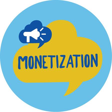 Conceptual hand writing showing Monetization. Business photo showcasing Process of converting establishing something into legal tender. Stock Photo