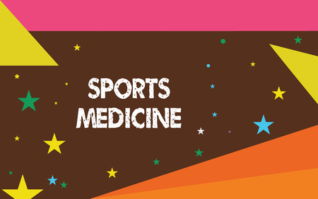 Writing note showing Sports Medicine. Business photo showcasing Treatment and prevention of injuries related to sports. Imagens