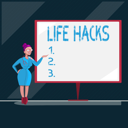 Writing note showing Life Hacks. Business photo showcasing Strategy technique to analysisage daily activities more efficiently.