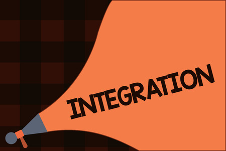 Conceptual hand writing showing Integration. Business photo text Action or process integrating Finding of an integral Involve.