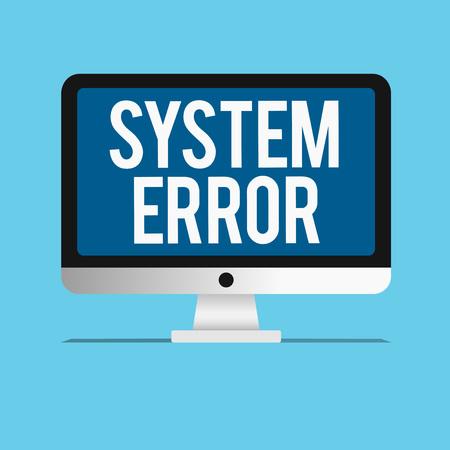 Main conceptuel écrit, indiquant l'erreur système. Photo d'entreprise présentant une défaillance technologique crash logiciel effondrement perte d'informations.