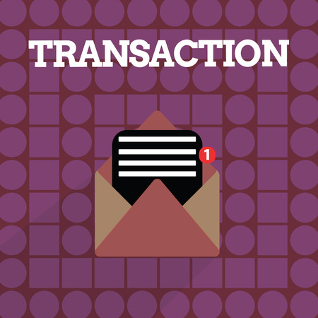 Handwriting text writing Transaction. Concept meaning Instance of buying or selling something Agreement exchange.
