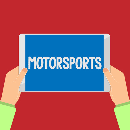 Writing note showing Motorsports. Business photo showcasing Competitive sporting events which involve motorized vehicles. Stock Photo - 111294984